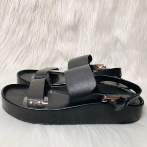 Rebecca Minkoff Black Leather Platform Sandals